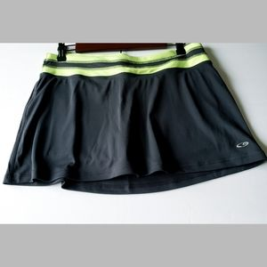 Champion Duo Dry Skort Charcoal Gray & Lime Green
